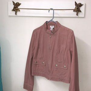Ann Taylor LOFT Jacket 100% Cotton Sz 14 Mauve